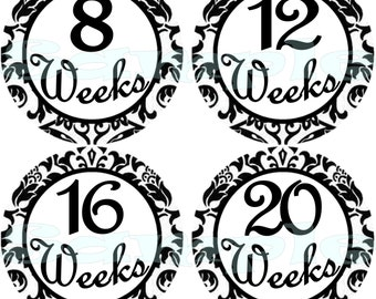 14 Damask Pregnancy Stickers Belly Stickers Weekly Stickers Pregnancy Photo Prop Belly Bump Stickers Maternity Stickers 2 BONUS STICKERS