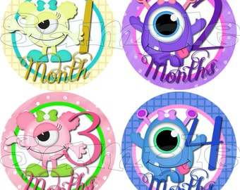 Monster Baby Girl Monthly sticker Baby Shower gift Baby Month stickers Month baby sticker Milestone stickers Onepiece stickers infant age