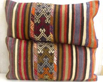 Kilim Lumbar Pillows Set Of 2 Turkish Bolster Cushion