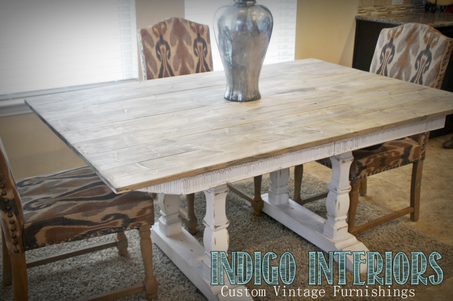 Weathered Gray And White Farmhouse Style Dining Kitchen Table Haute Juice