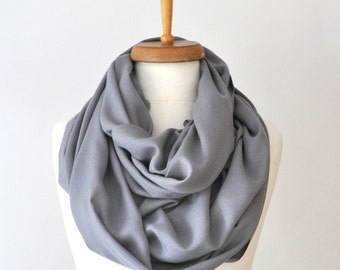 Infinity scarf Pashmina Gray Infinity Scarf Handwoven Cotton Scarf in Gray