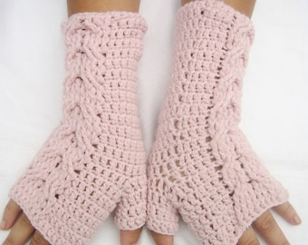 Fingerless Glove, Crochet Fingerless Glove Light Pink Cable Long, valentines day gift, winter accessory,handmade fingerless woman accessory