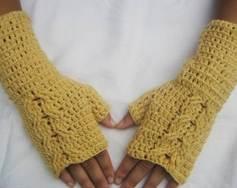 50% off sale women wool gloves wool   fingerless gloves, Crocheted Yellow Long Fingerless Half Gloves with Cable, winter accessories