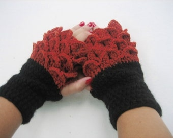 BLACK FRIDAY SALE! Fingerless Crocheted Gloves Arm Warmers Brown and Black Accessory,christmas  gift handmade fingerless, Winter Accessories
