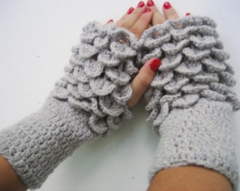 Fingerless gloves, dragon scale gloves Crocheted Gloves Arm Warmers  Gray Accessory   women fingerless, wrist warmers winter accessories