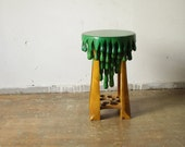 STOOL, wood, green & yellow painted
