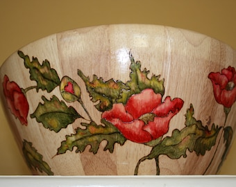 Wooden salad serving bowl red poppy pattern