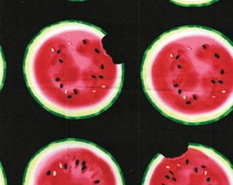 "SUPER CLEARANCE! 17"" REMNANT Mad for Melon - Take a Bite in Black - Cotton Quilt Fabric - by Kanvas - Benartex Fabrics - 6320-12 (W237)"