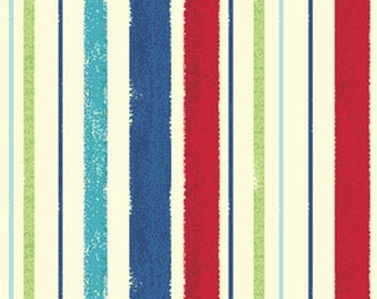 SUPER CLEARANCE!! One Yard Ships Ahoy - Decking Stripe in Red and Lime - Nautical Cotton Quilt Fabric - from Benartex (W657)