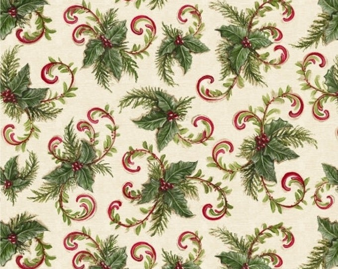 SALE!! Fat Quarter 12 Days of Christmas - Holly and Candy Canes Cotton Quilt Fabric - by Kate McRostie - Windham Fabrics (W324)