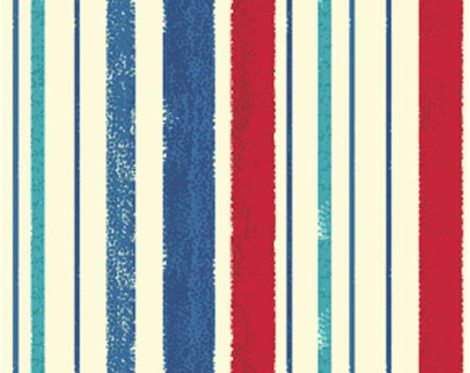 SUPER CLEARANCE!!  One Yard Ships Ahoy - Decking Stripe in Navy and Red - Nautical Cotton Quilt Fabric - from Benartex (W658)