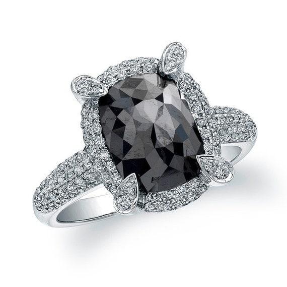 Items similar to 2 1 2 carat oval black diamond ring on etsy