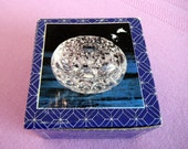 Vintage trinket box// European crystal clam shell candy box/ring bowls, in original box