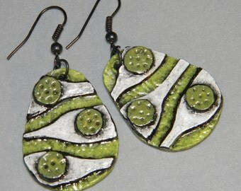 Earrings Distressed Boho Polymer Clay Mid Century Modern Jewelry Women Casual Dangles SHOAL by ArtCirque Donna Pellegata