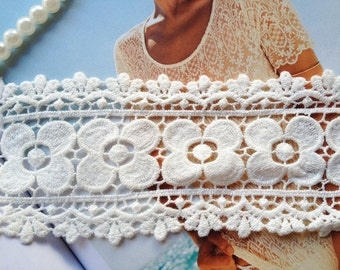 White Cotton Lace Trim Vintage Floral Embroidered Lace 2.36 inches wide 2 yards