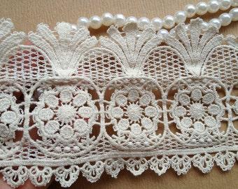SALE Cotton Lace, Scalloped Lace, Antique Lace Trim, Ecru Cotton Lace