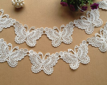SALE White Lovely Butterfly Lace Trim Venice Lace Butterfly Appliques for Your Fashion Design