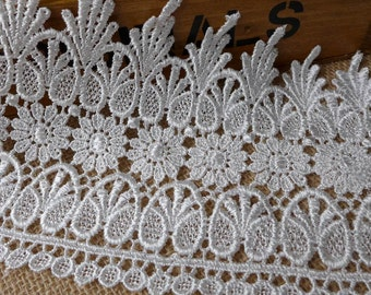Antique Venice Lace Trim in White for Weddings, Veils, Millinery, Jewelry or Costume design