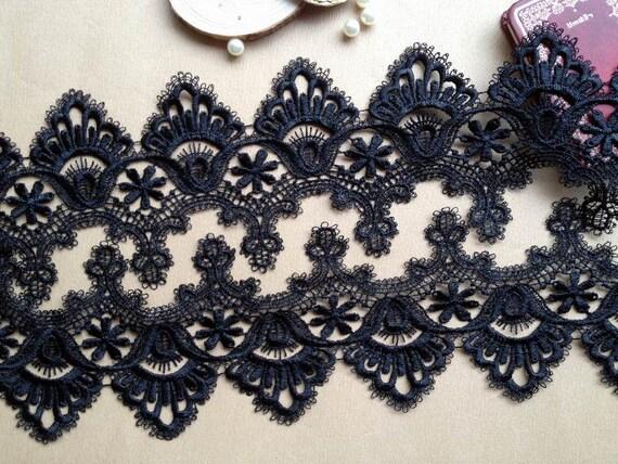 Black Lace Venice Lace Trims Vintage Cotton Lace Trim 1 Yard