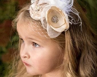 The Penelope Flower Girl Headband, Vintage Satin Rosette Flower, pearls, rhinestones, birdcage netting, feather, lace embellishments