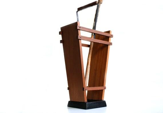 Wooden Umbrella Stand ~ Vintage umbrella stand holder wood metal germany s brown