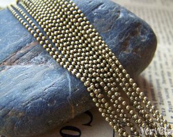 16ft (5m) Antique Bronze Brass Fine Bead Ball Chain 1.2mm A3994