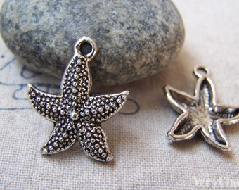 20 pcs of Antique Silver Starfish Charms 18x22mm A5781