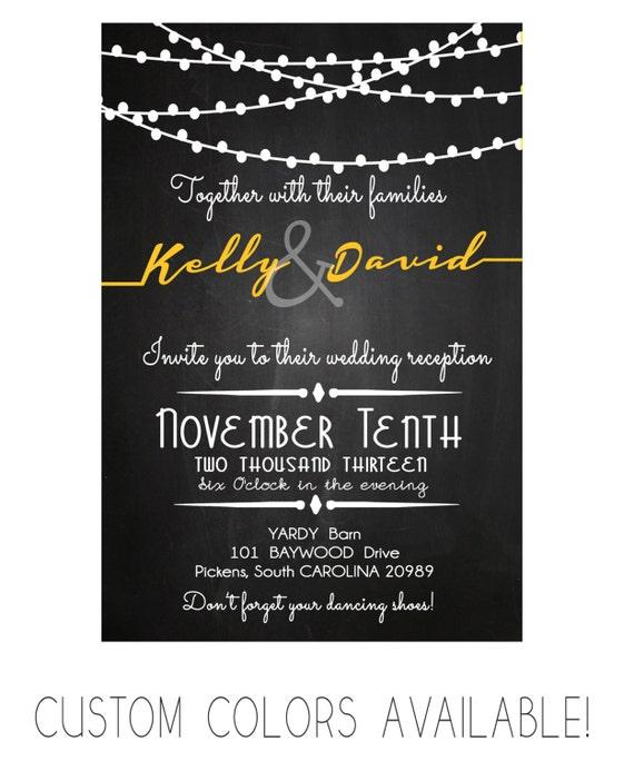 Wedding Reception Invitation Card Chalkboard Modern