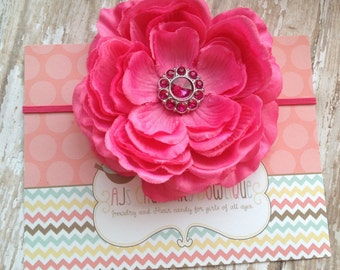 Hot pink ranunculus flower headband,baby headband, newborn headband, photo props, headbandsy