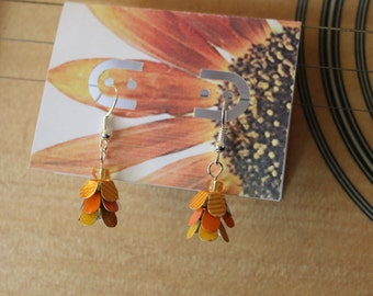 dainty dangly happy orange upcycled earrings