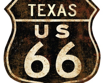 Route 66 Texas Distressed Wall Decal #40917