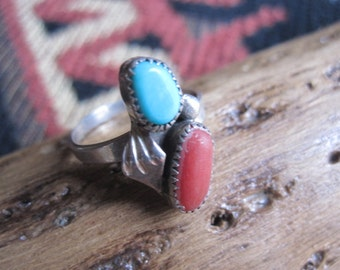 Turquoise and Sterling Feathers  Ring Size 6.5