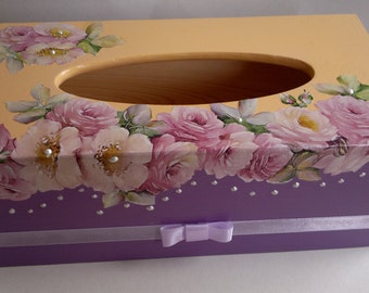 wooden tissue box cover, roses and pearls