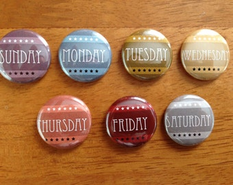 Days of The Week Magnet Set of 7 Days of The week, Scrapbooking, Magnets