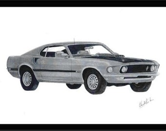 Pencil art drawing of a 1969 Mustang Mach1