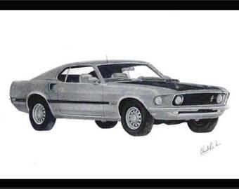 Pencil art drawing of a 1969 Mustang Mach1