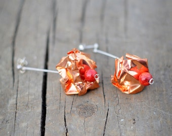 Silver and Copper earrings with red coral