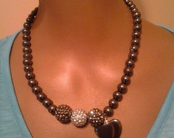 Hematite blinged necklace with hematite heart