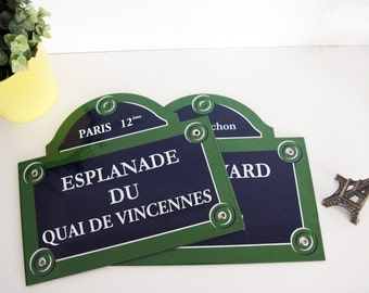 """French enamel street sign of Paris 6"""" x 5.1"""" * Made to order * / Authentic Parisian sign / Enamel plaque for home decoration or gift"""