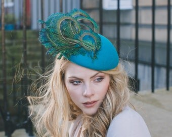 Turquoise/jade/blue felt and peacock feather percher hat for wedding guest or Ascot races.