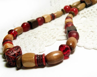 Beaded Wood Necklace, Brown, Burgundy, and Beige, Handmade, 17""