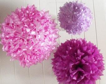 Plum Violetta, 3 Tissue Paper Pom Poms, Plum, Violet, Purple, Decorations, Purple Wedding Decor, Purple Nursery Decor, Purple Shower