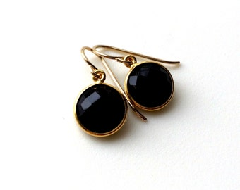 Black Onyx Gold Earrings, Onyx Gemstone Earrings, Classic Black Bridesmaid Formal Earring