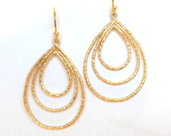 Hoop Earrings, Gold Hoop Earrings, Three Teardrop Hoops Gold Earrings