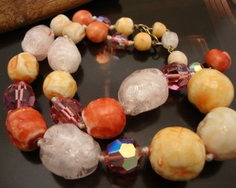 Necklace Celluloid Vintage Multicolored Fabulous Beaded Teething Women