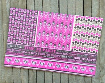Girl BIrthday Paper Placemats with Monkeys and Pink - Set of 8