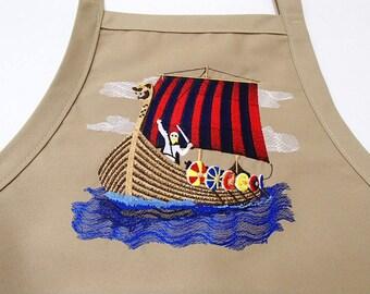 Embroidered Scandinavian Norwegian Viking Ship Apron #855