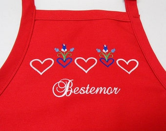 Embroidered Scandinavian Norwegian Grandmother Bestemor on Red Apron #818