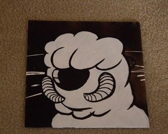 White Cartoon Wampa Snow Creature  Acrylic Painting on Record Album