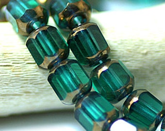 Emerald Green Bronze 6x5mm Faceted Cathedral Czech Glass Beads x 25